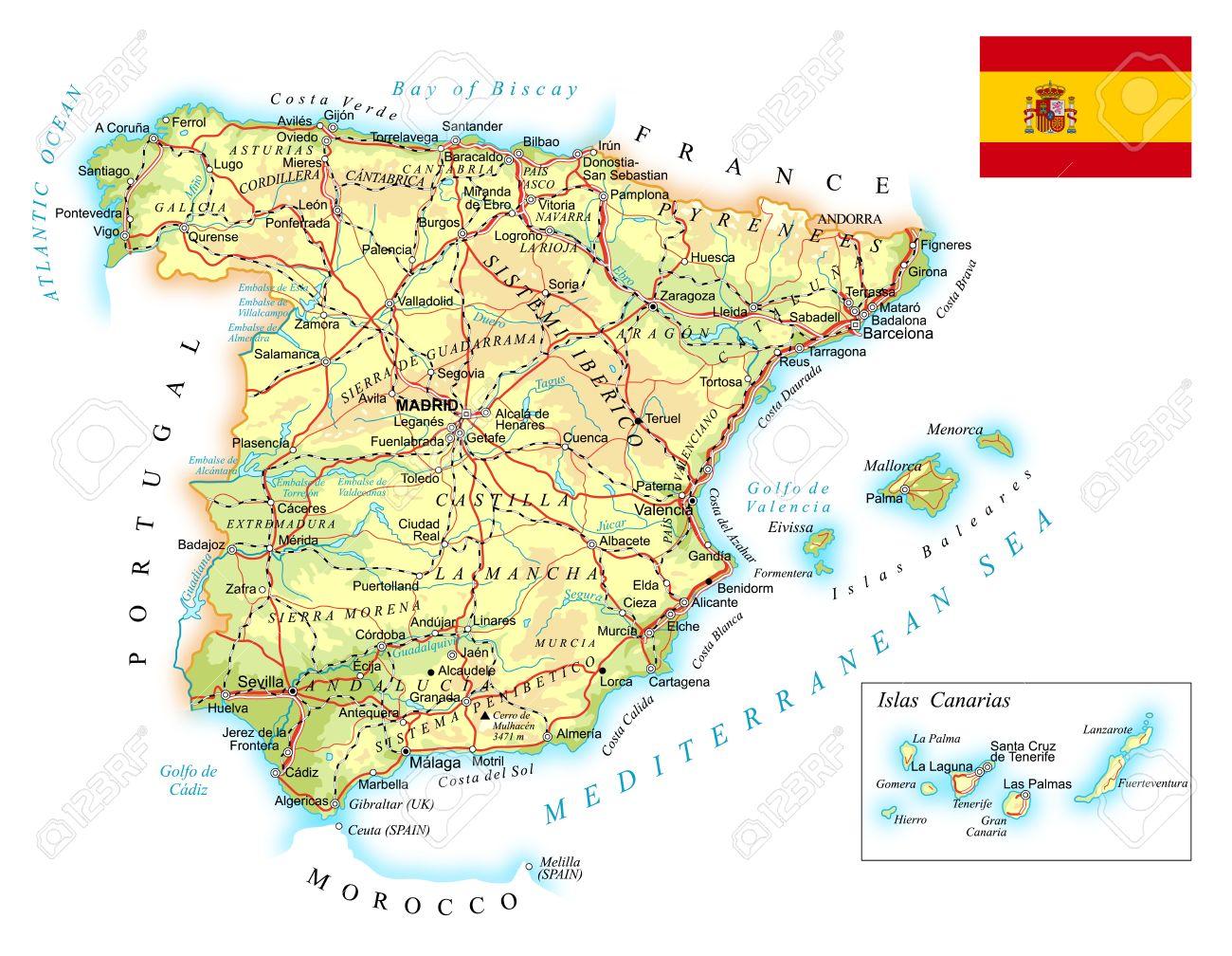 Carte Espagne Gijon.Espagne Carte Topographique Detaillee Illustration Plan Contient Contours Topographiques Pays Et Terres Noms Des Villes Des Objets De L Eau