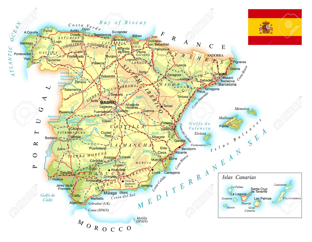 Map Of Spain Reus.Spain Detailed Topographic Map Illustration Map Contains