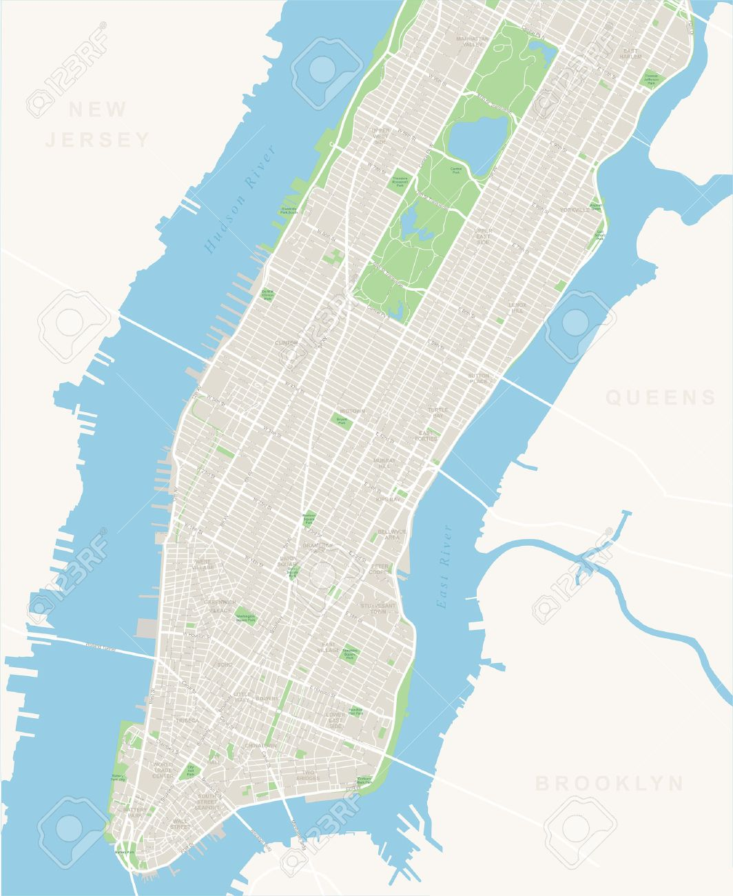 Nyc Map It.New York Map Lower And Mid Manhattan Highly Detailed Vector