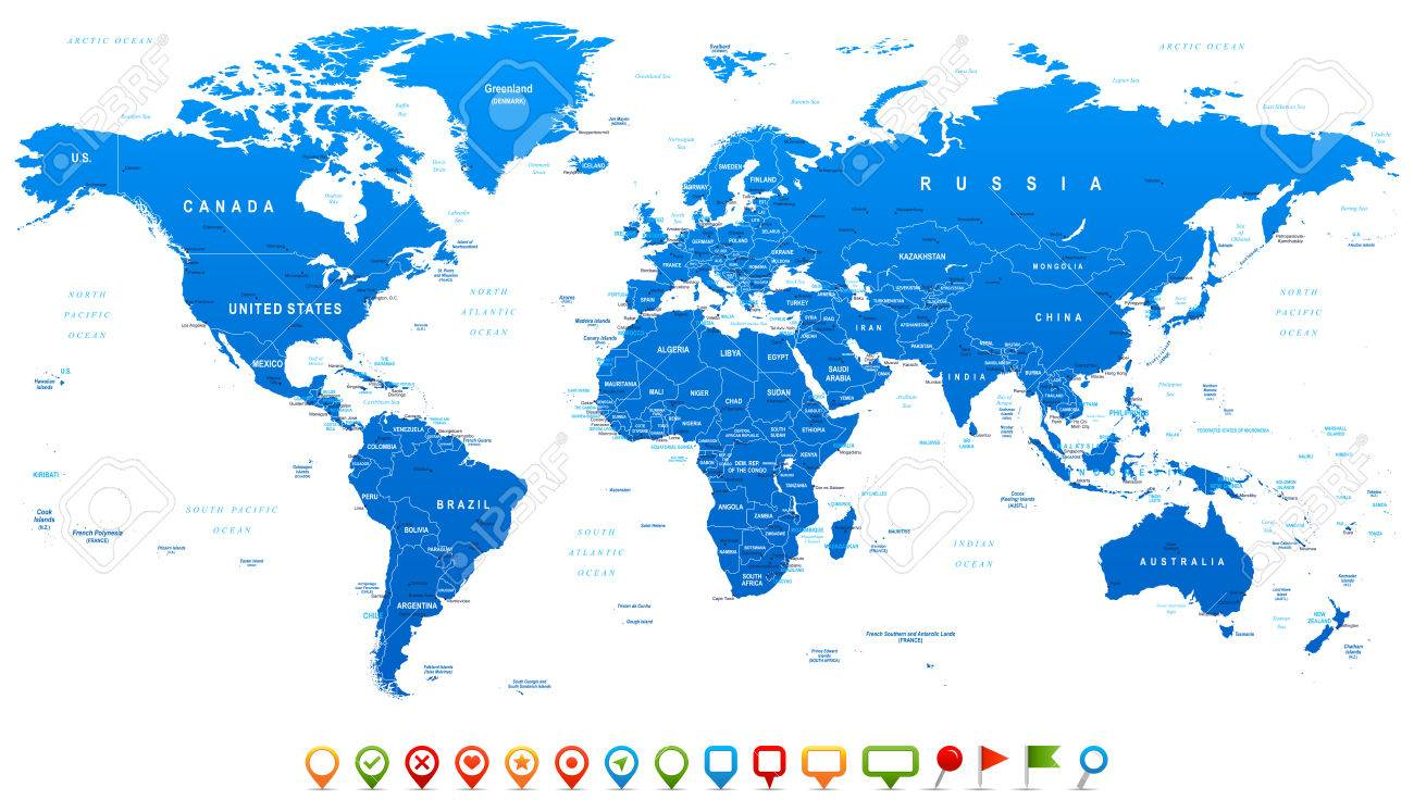 Blue World Map and navigation icons - illustration. Highly detailed world map: countries, cities, water objects. - 42565442