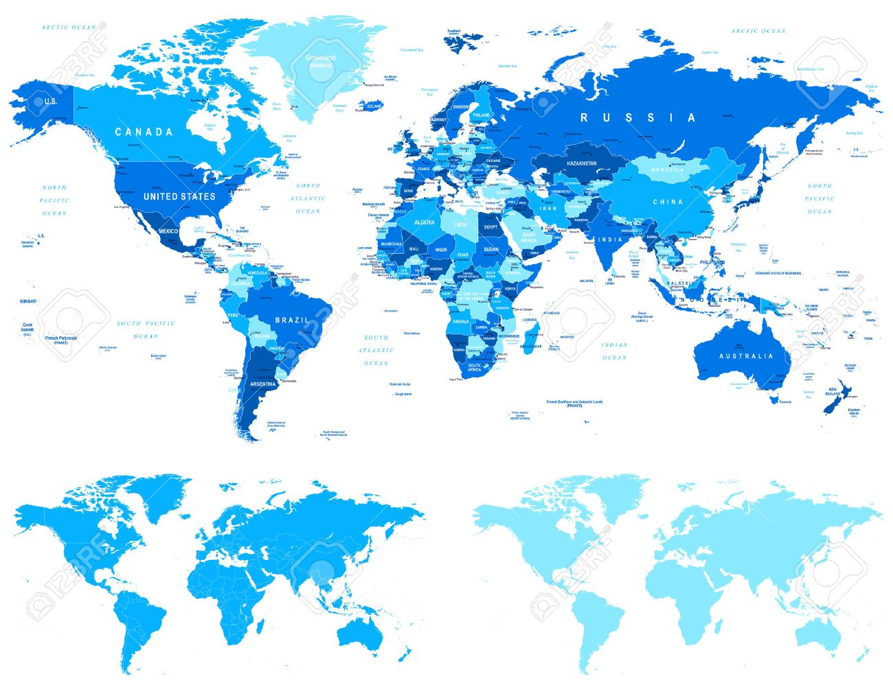 Blue World Map Borders Countries And Cities Illustration - World map with cities