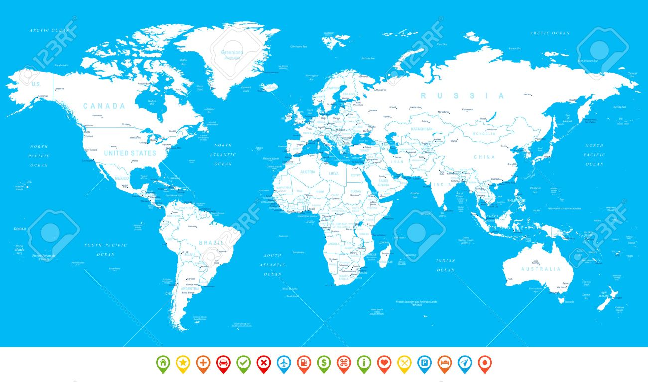 White World Map And Navigation Icons Illustration Highly - Us map with countries