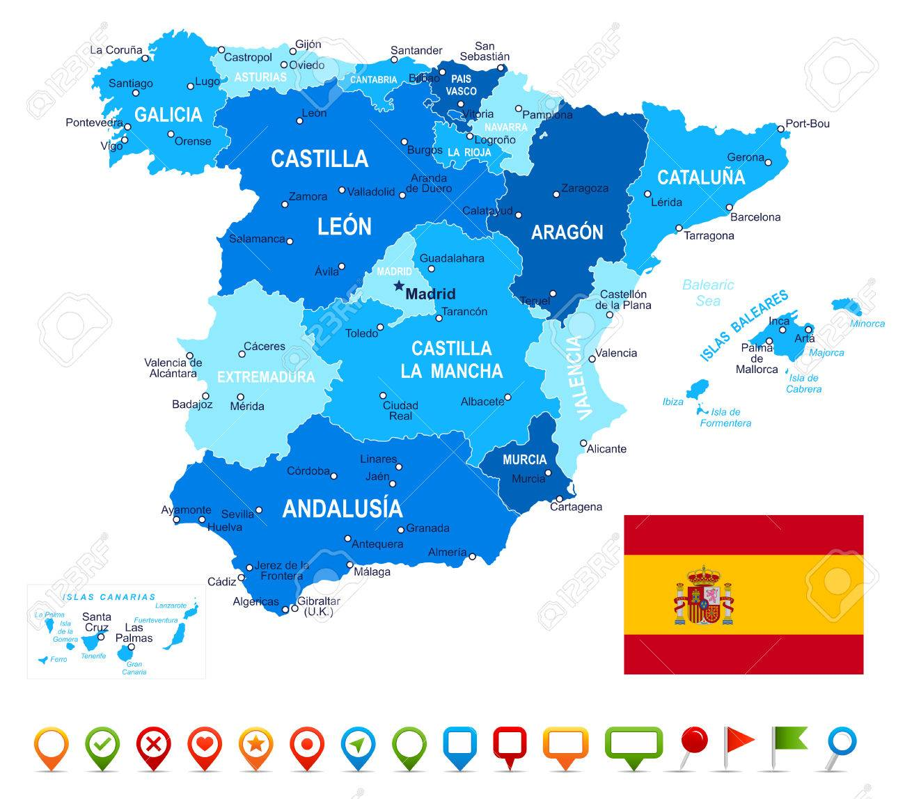 Spain - map, flag and navigation icons - illustration.Image contains next layers. There are land contours, country and land names, city names, water object names, flag, navigation icons. - 42708152