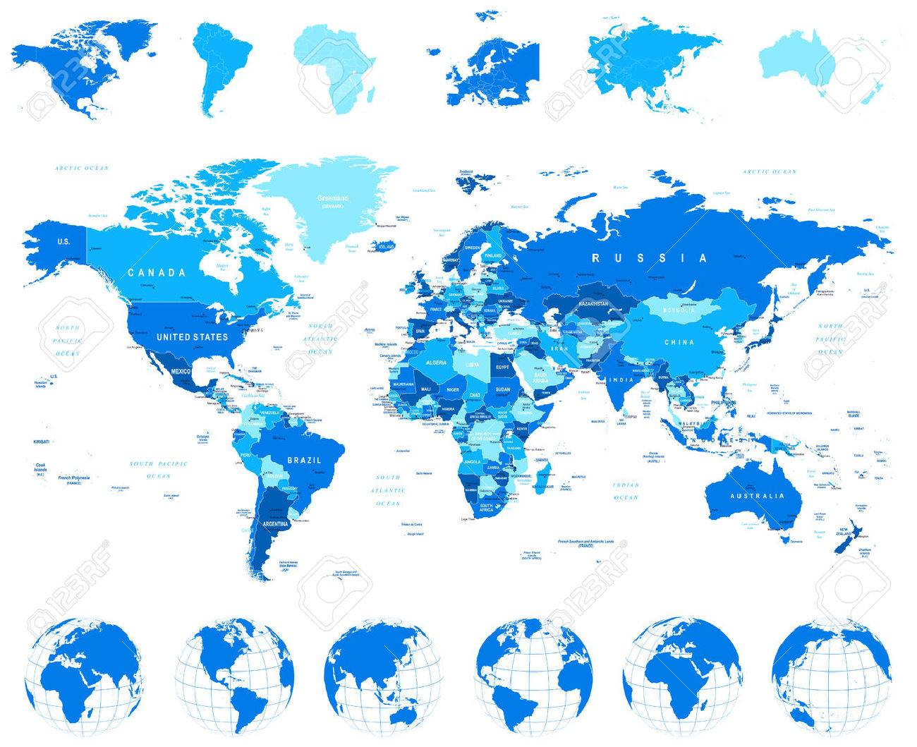 World Map, Globes, Continents - illustration. Highly detailed vector illustration of world map, globes and continents. - 43474197