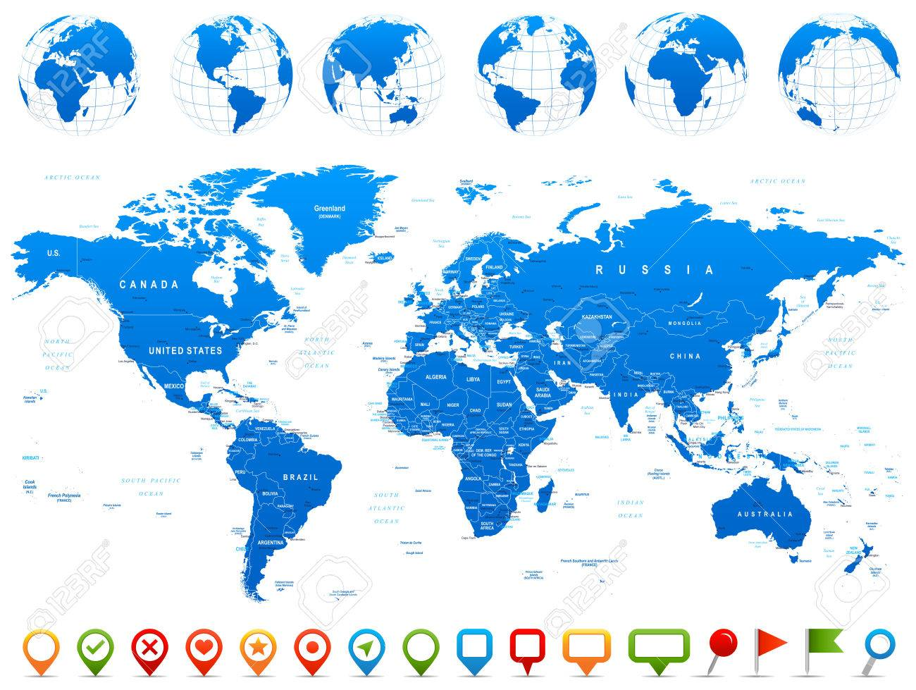World Map Globes Continents Navigation Icons Illustration - Argentina map continent