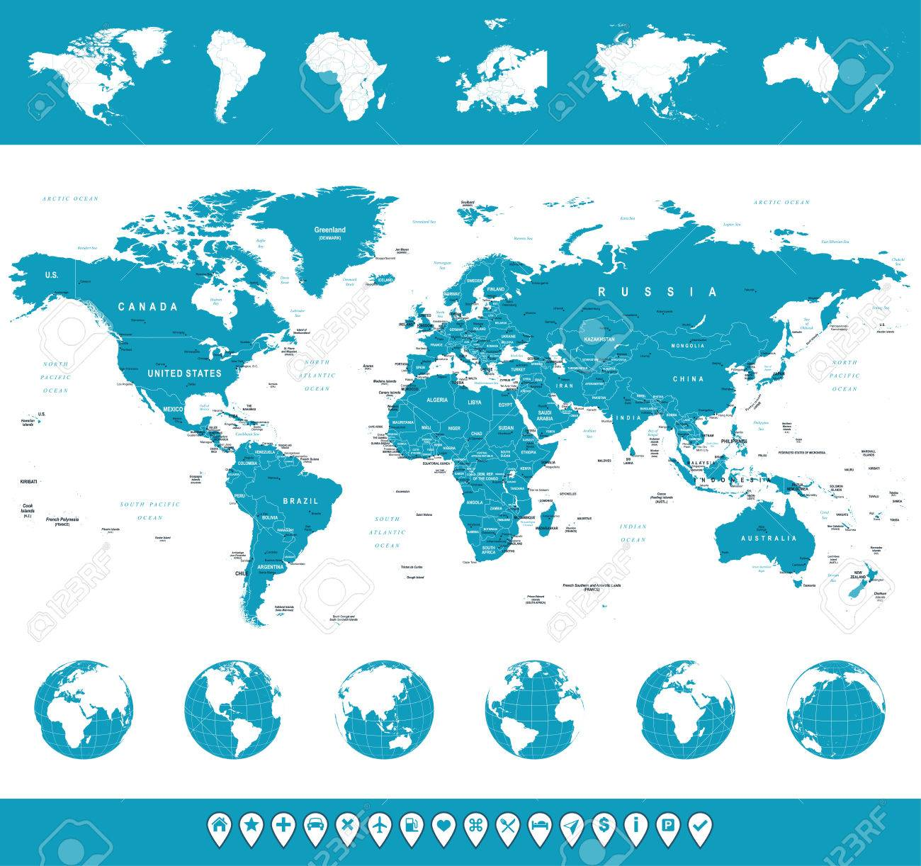 World map globes continents navigation icons illustration world map globes continents navigation icons illustration stock vector 43473879 gumiabroncs Choice Image
