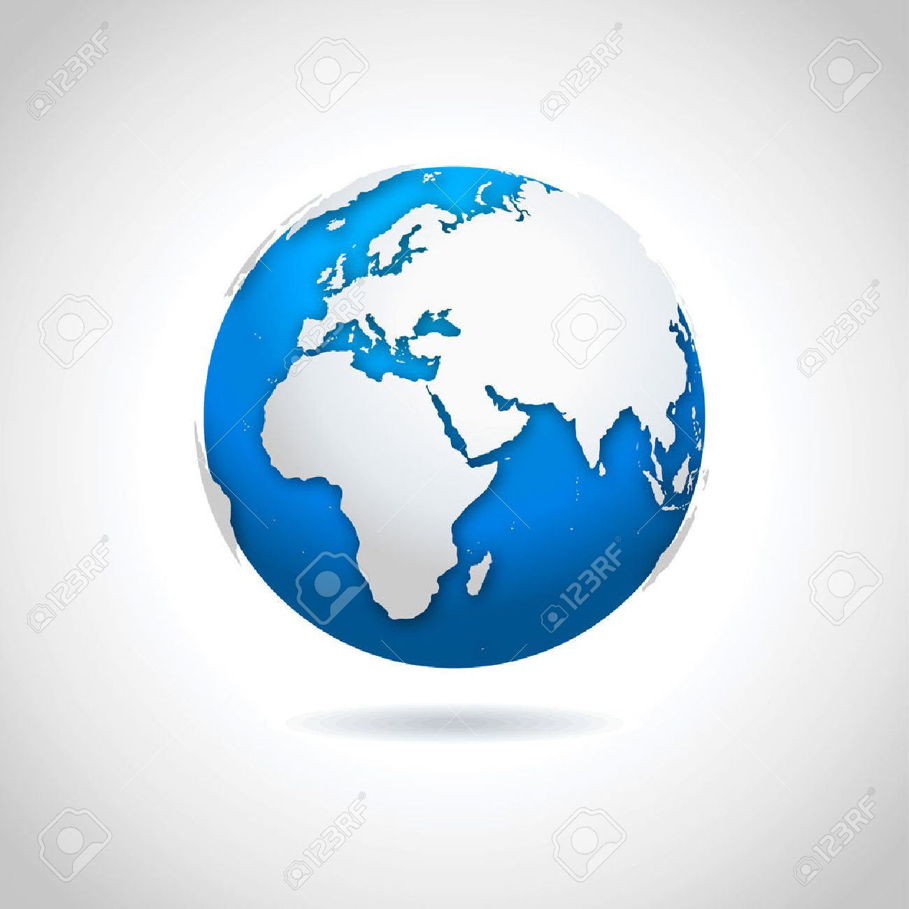 Vector illustration of blue-white globe symbol with drop shadow effect. - 43473887