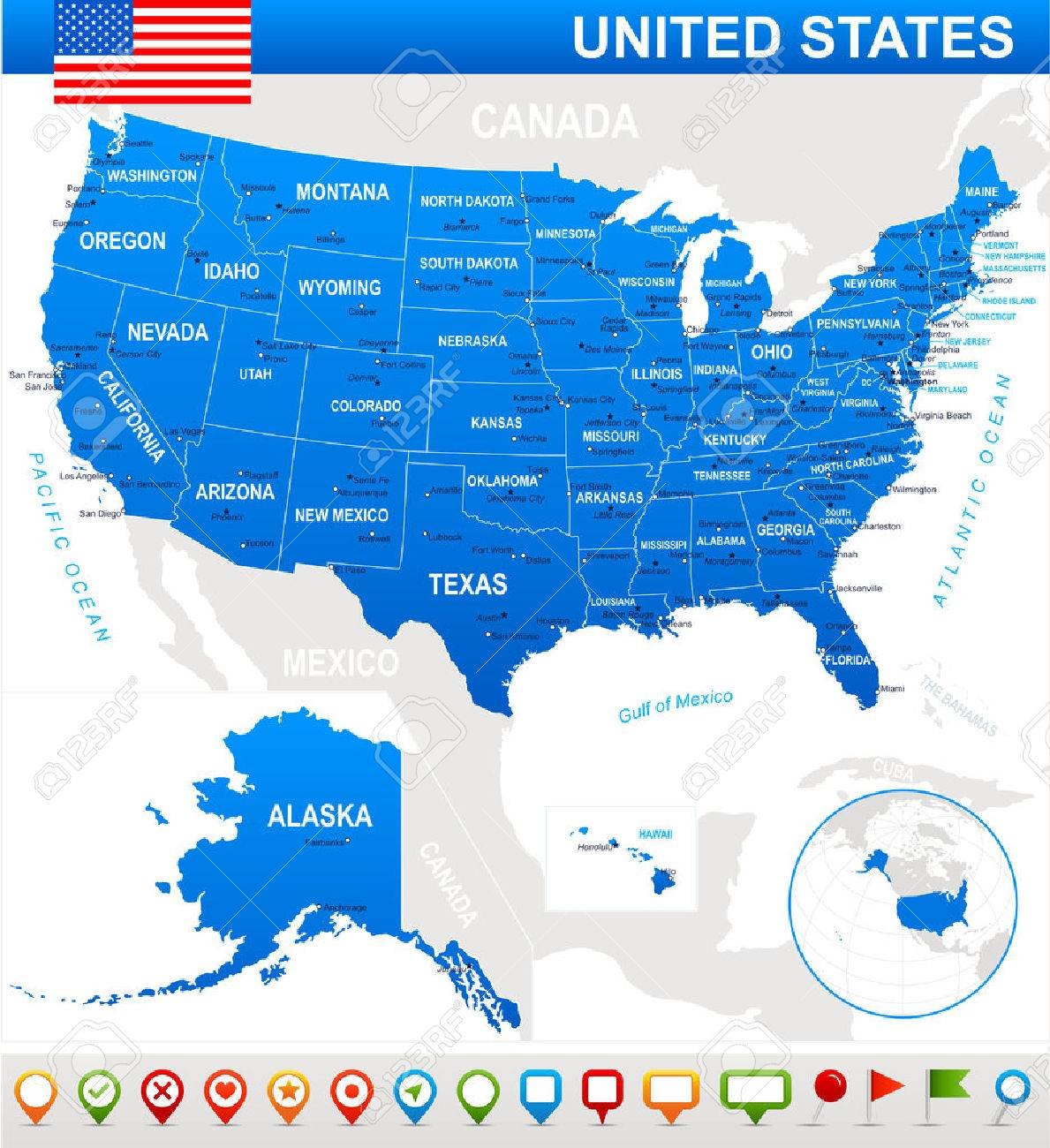 United States USA - Map, Flag And Navigation Icons - Illustration ...