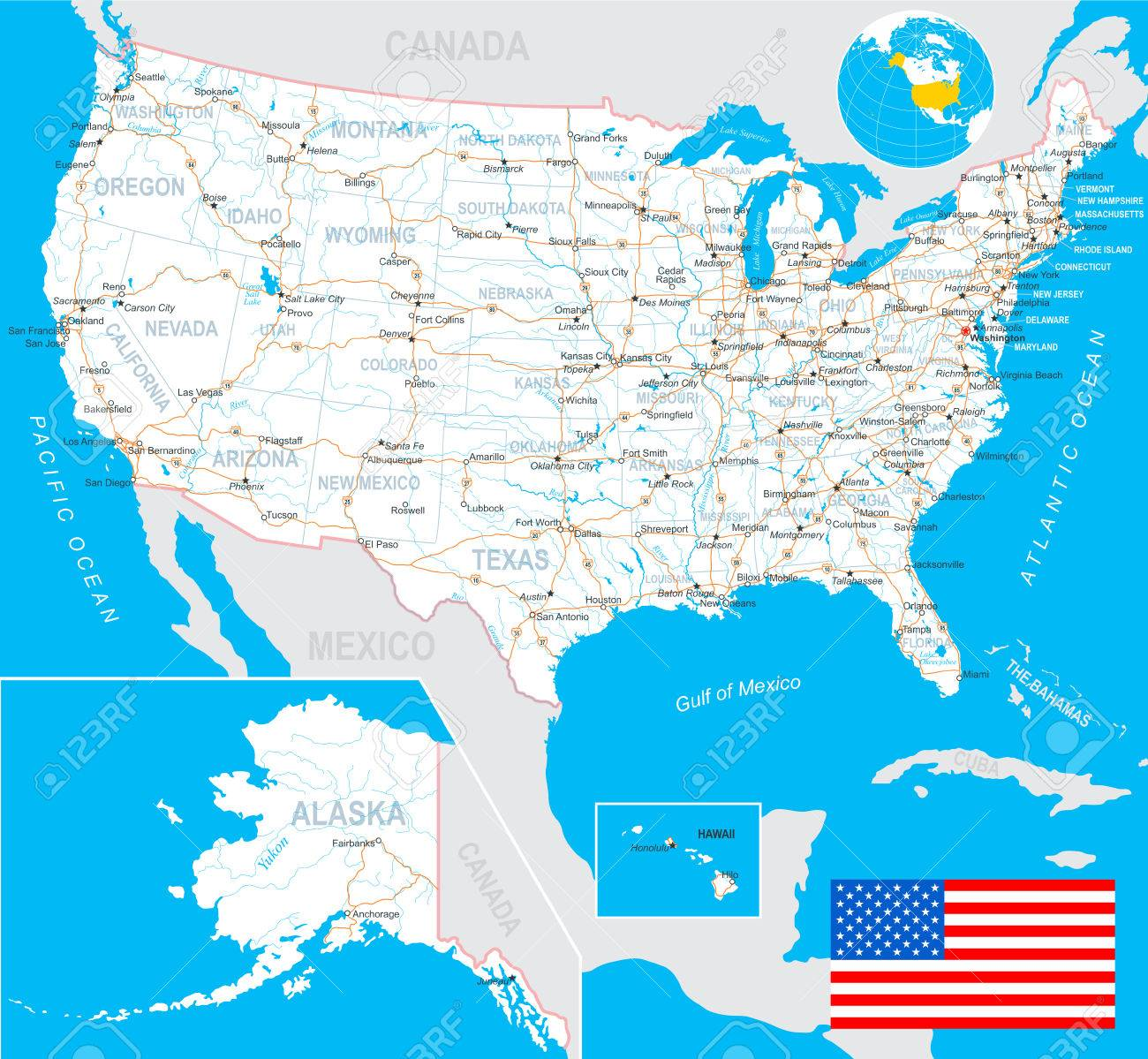 United States USA Map Flag Navigation Labels Roads - Boston massachusetts us map