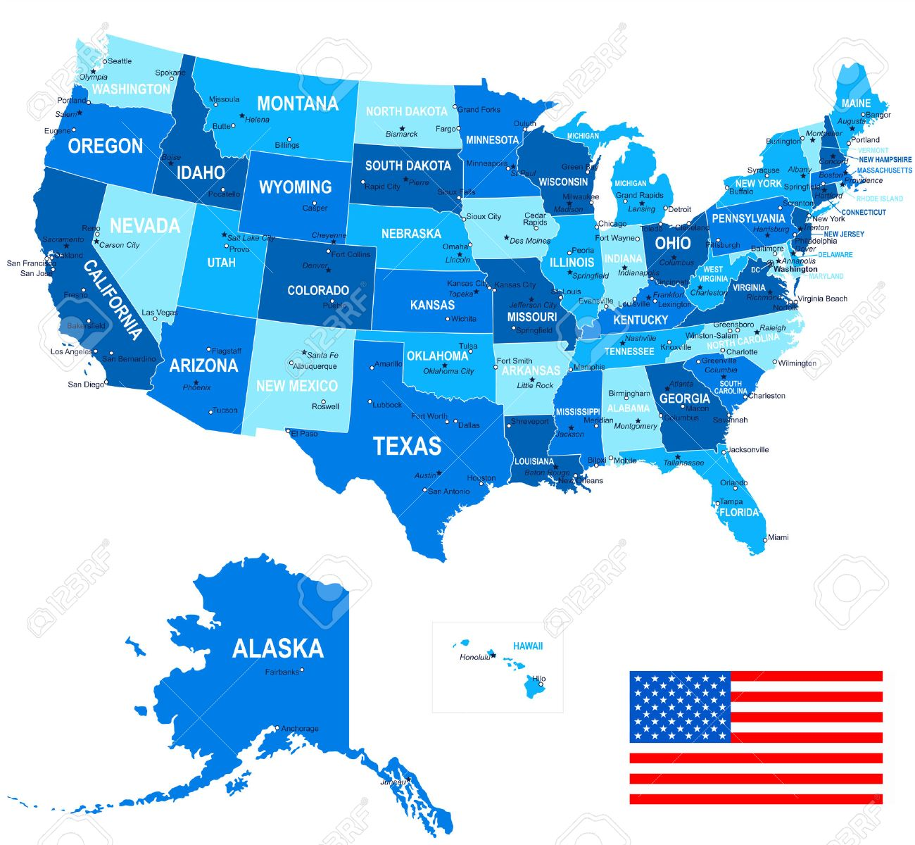United States USA Map Flag And Navigation Icons Illustration - States of the usa map