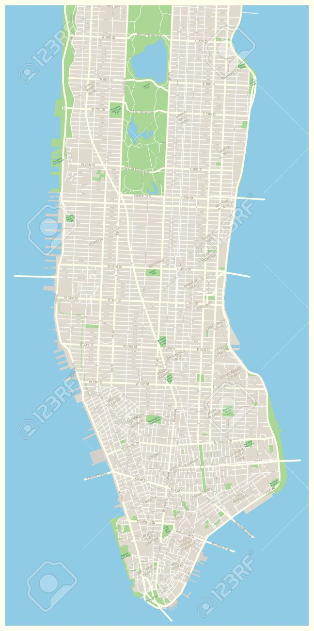 Road Map Of Manhattan.Highly Detailed Vector Map Of Lower And Mid Manhattan In New