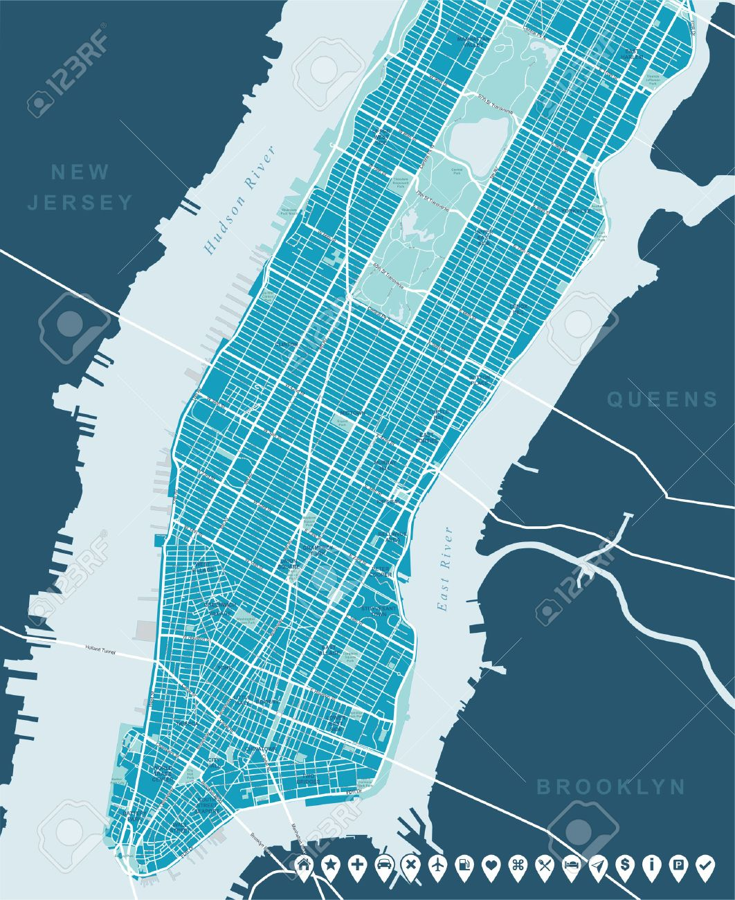 New York Map Lower And Mid Manhattan Royalty Free Cliparts