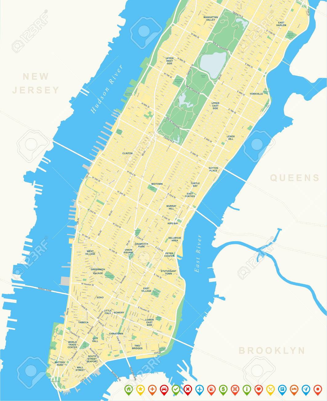 New York Map - Lower And Mid Manhattan Including All Streets