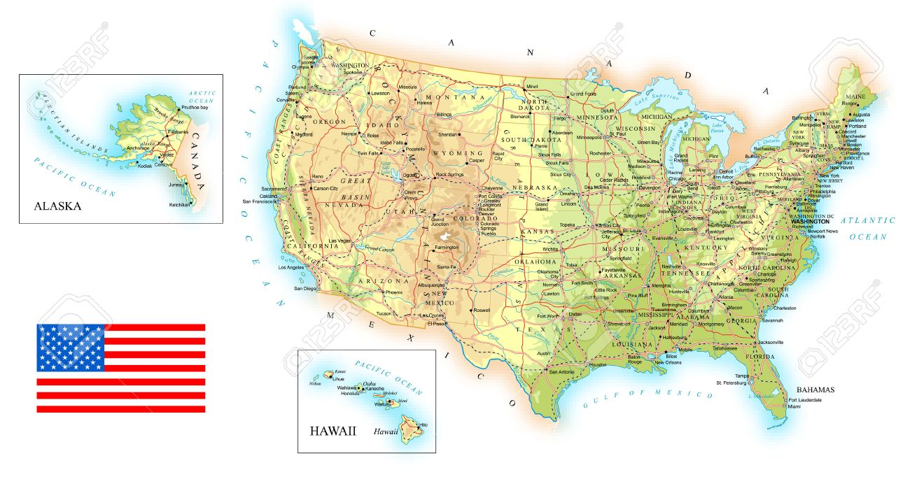 USA - Detailed Topographic Map - Illustration. Royalty Free Cliparts ...