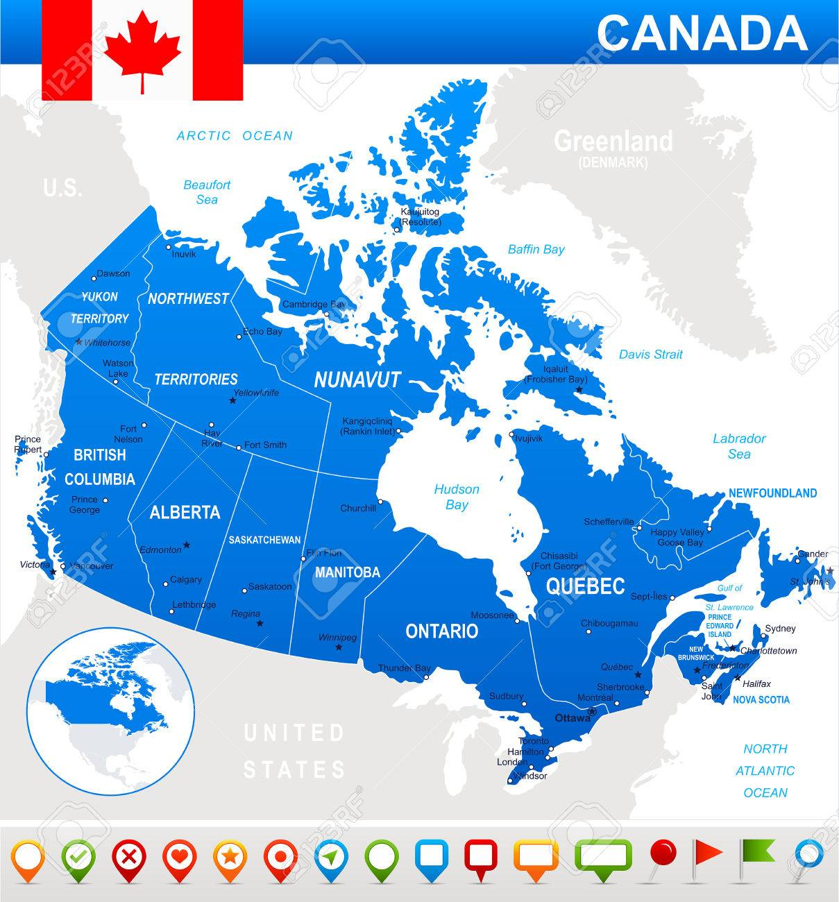 Land And Water Map Of Canada Map Of Canada And Flag   Highly Detailed Vector Illustration