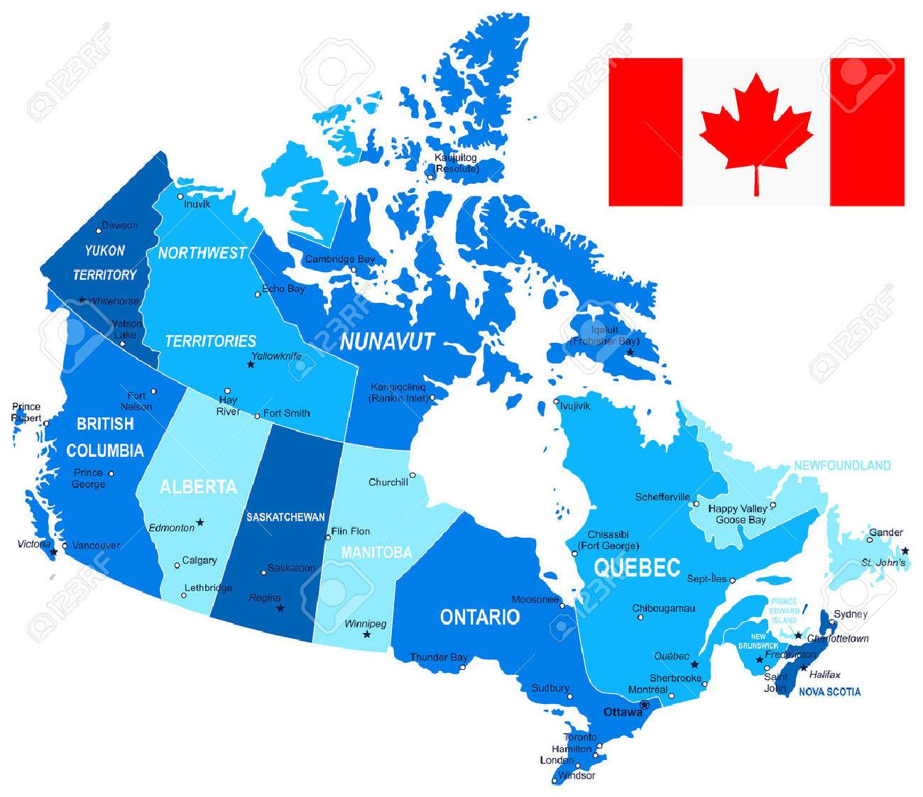 canada map and flag illustration