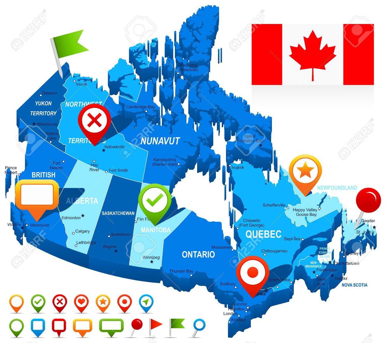 Map Of Canada And Flag Highly Detailed Vector Illustration – Map of Canada Detailed