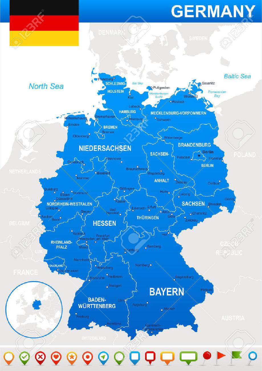 Map Of Germany And Flag Highly Detailed Vector Illustration - Germany map detailed