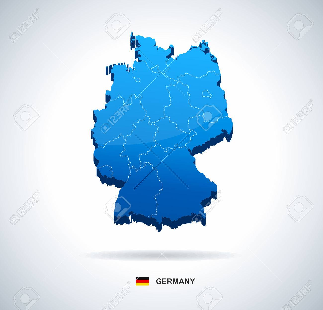 Map Of Germany 3d.Germany Map Three Dimensional Vector Illustration Map Of Germany