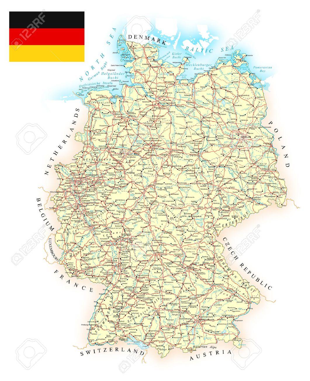 Mapa Tierra Media Detallado.Alemania Mapa Detallado Ilustracion Mapa Contiene Contornos Topograficos Pais Y Los Nombres De La Tierra Ciudades Objetos De Agua Carreteras