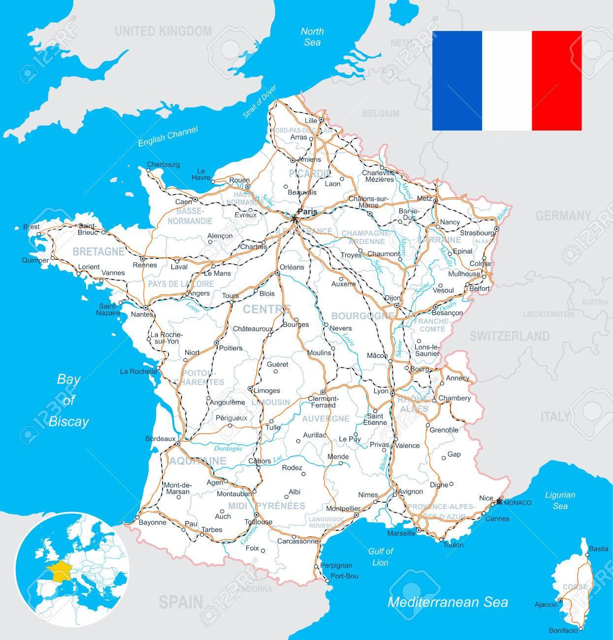 Mapa De Francia Y La Bandera Altamente Detallada Ilustracion