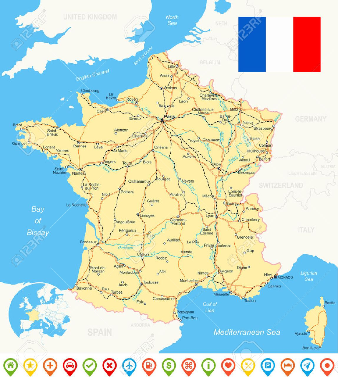 France Map Flag Navigation Icons Roads Rivers Illustration