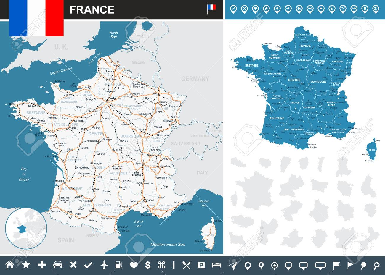 Map Of France With City Names.France Infographic Map Highly Detailed Vector Illustration