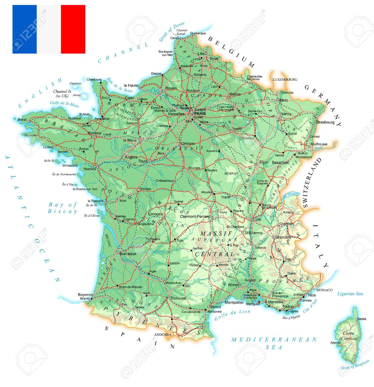 Map Of France With City Names.France Detailed Topographic Map Illustration Map Contains