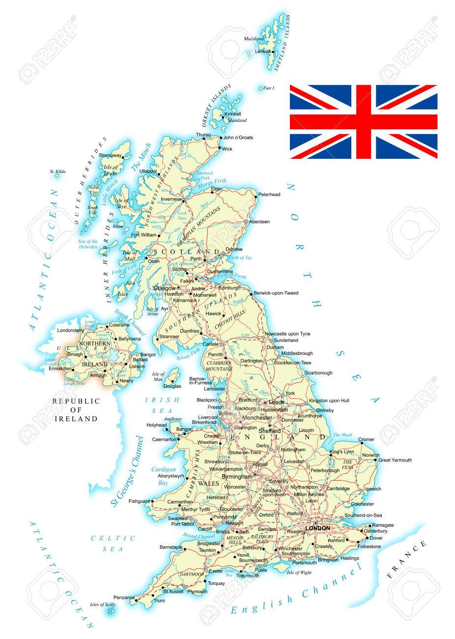 Reino Unido Mapa Detallado Ilustracion Mapa Contiene