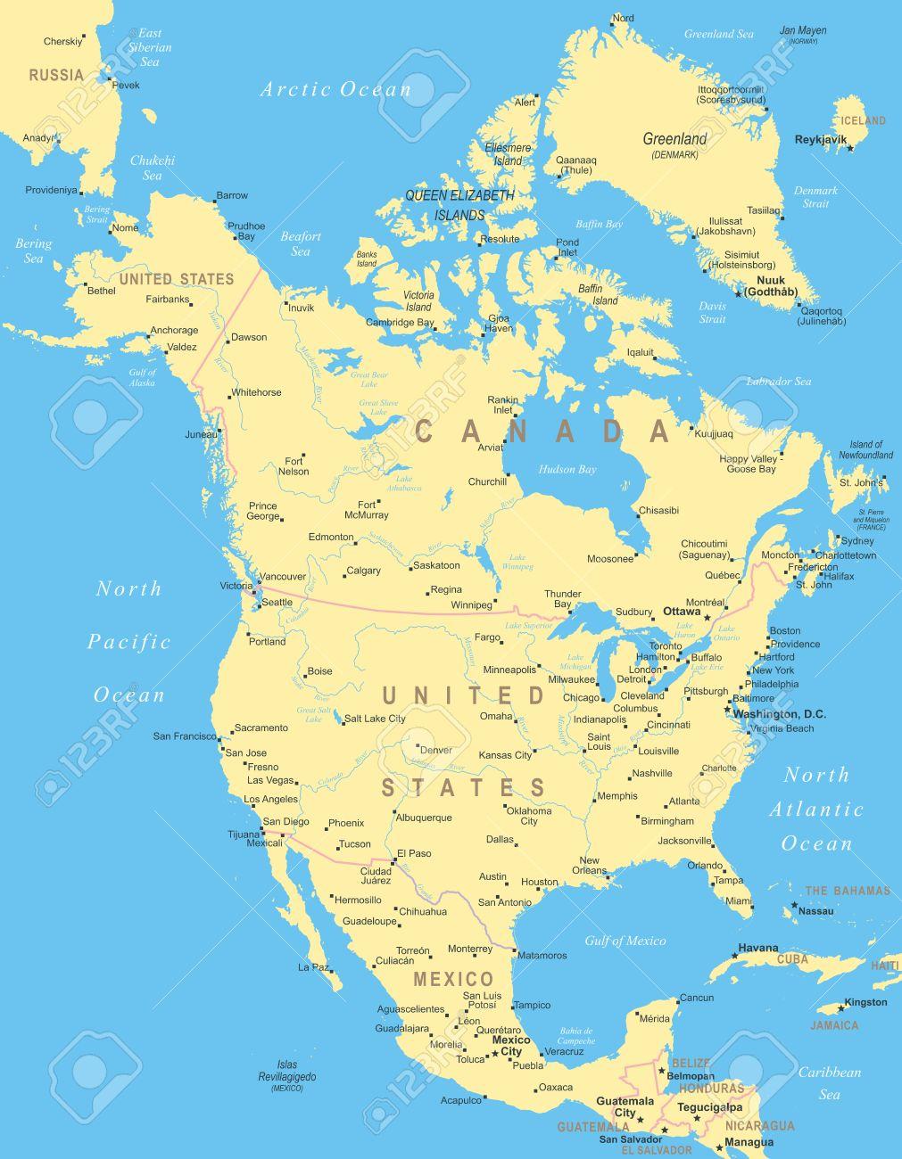 北アメリカ - 地図 - イラスト。のイラスト素材・ベクタ - Image 45024903.
