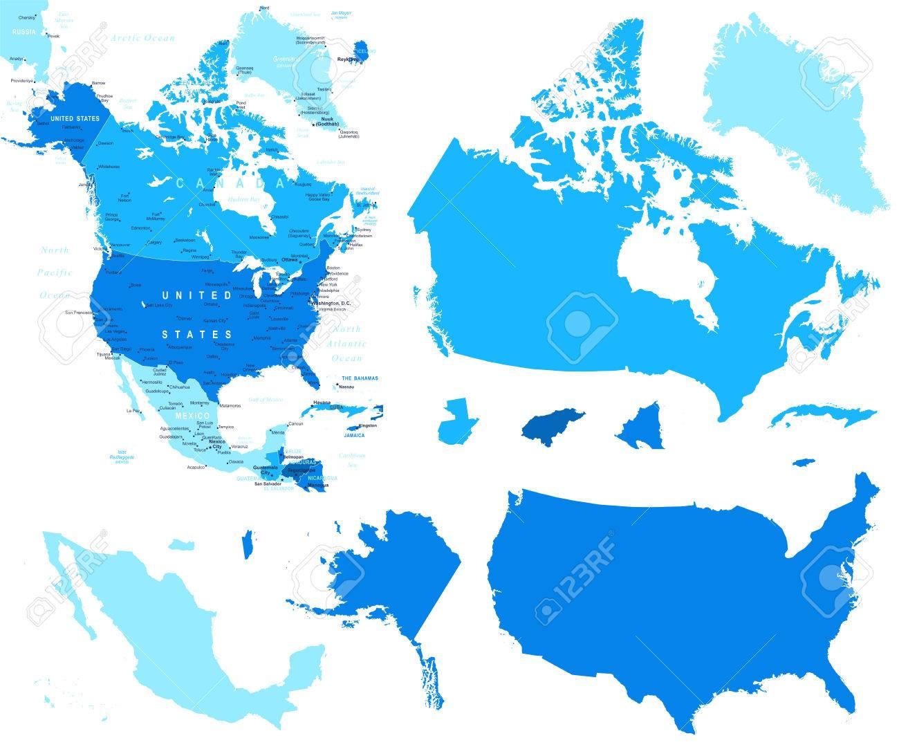 Colored Map Usa Canada Mexico States Stock Vector Map Map Usa Mexico