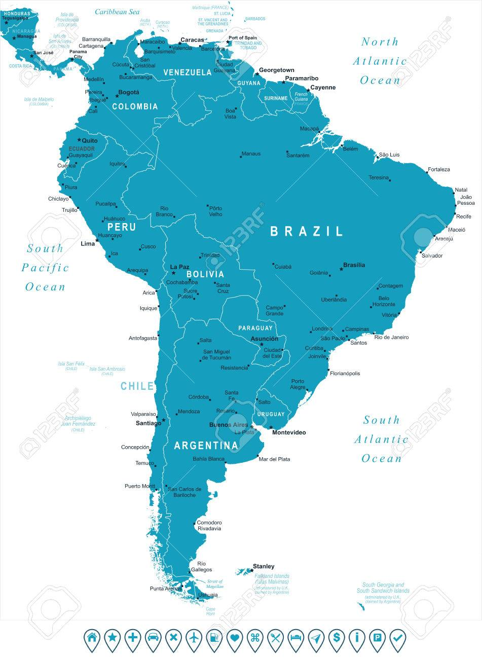 South America map - highly detailed vector illustration. Image..