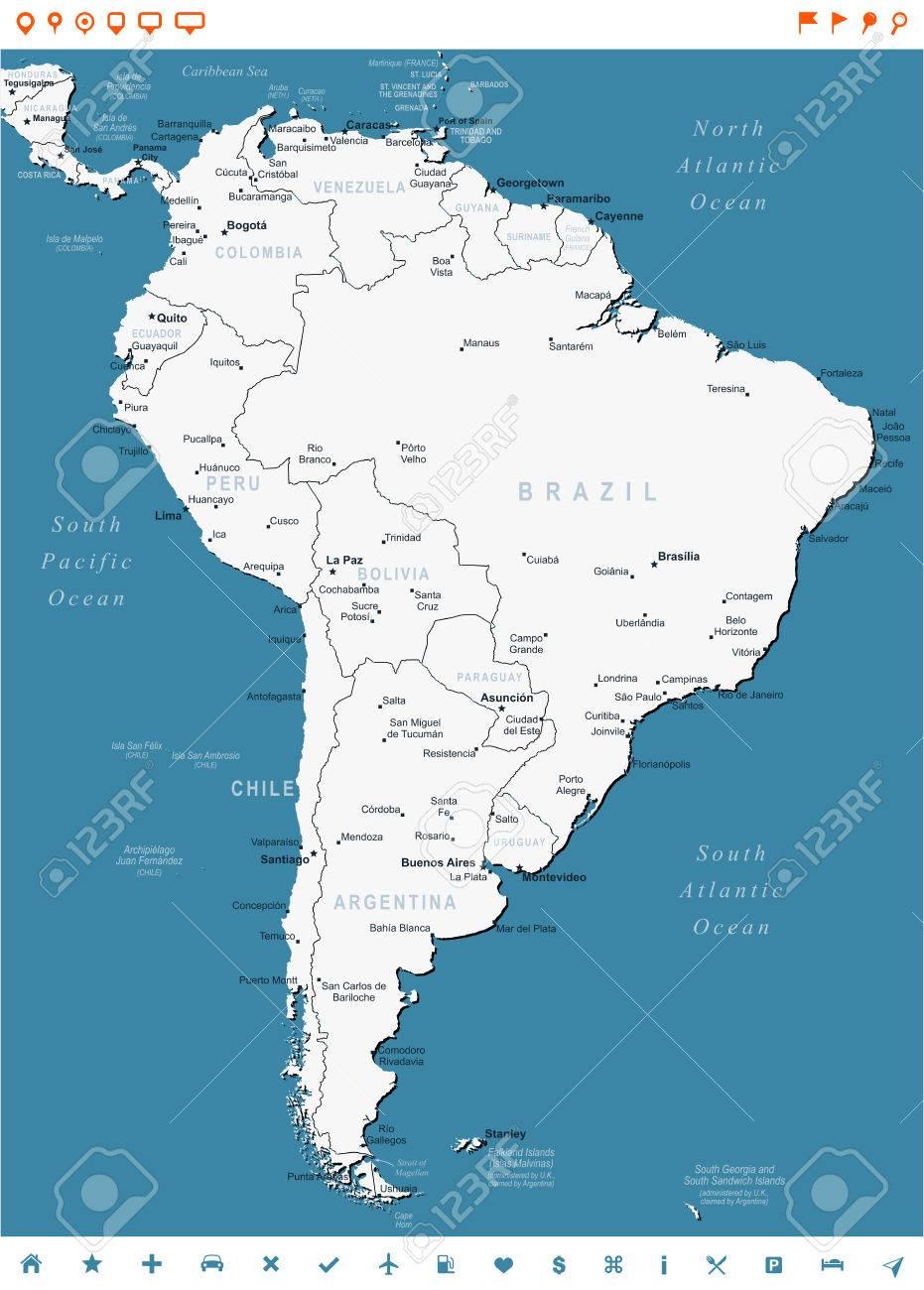 Mapa America Del Sur Con Nombres.America Del Sur Mapa Altamente Detallada Ilustracion Vectorial La Imagen Contiene Contornos Terrestres Nombres De Paises Y De La Tierra Los
