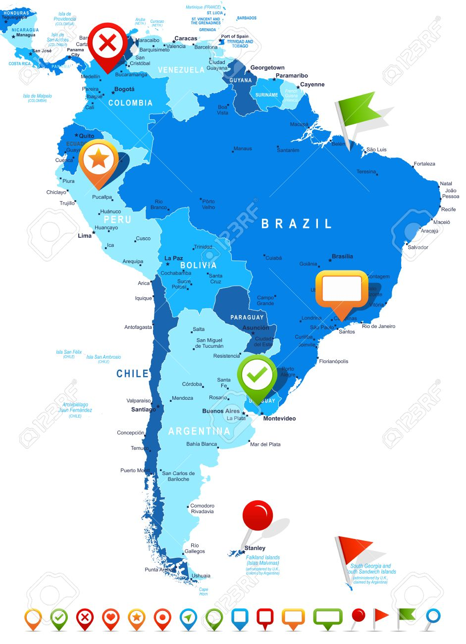South America Map Highly Detailed Vector Illustration Image