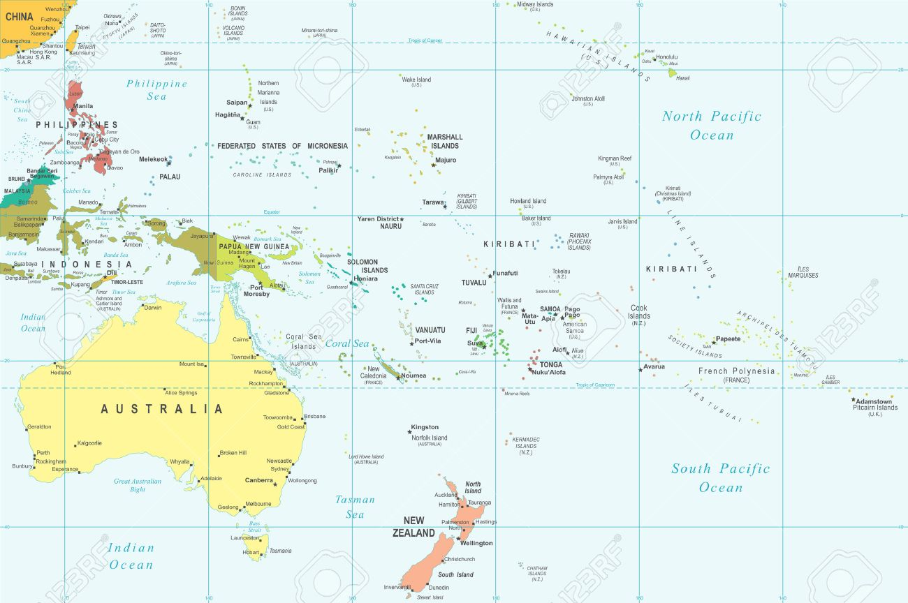 Australia and Oceania - map - illustration.