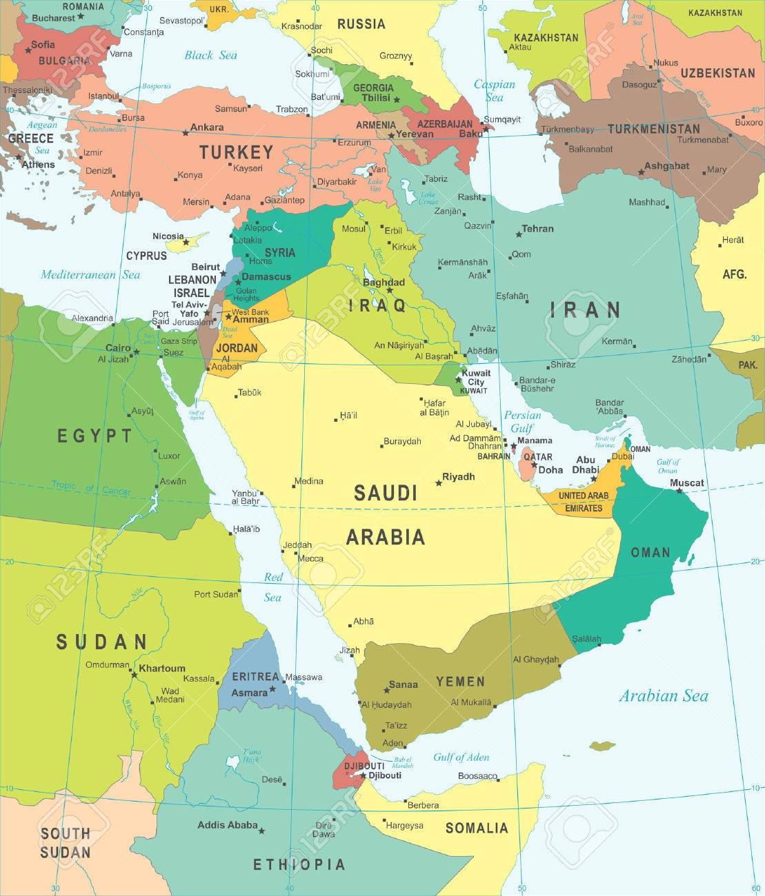 Middle East and Asia map - highly detailed vector illustration. - 48932499