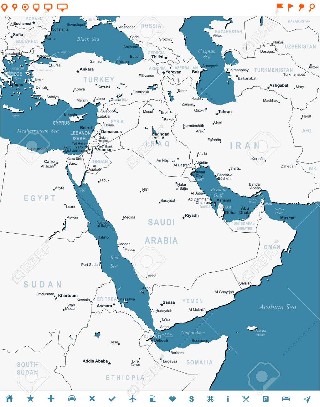 Middle East Map Highly Detailed Vector Illustration Image