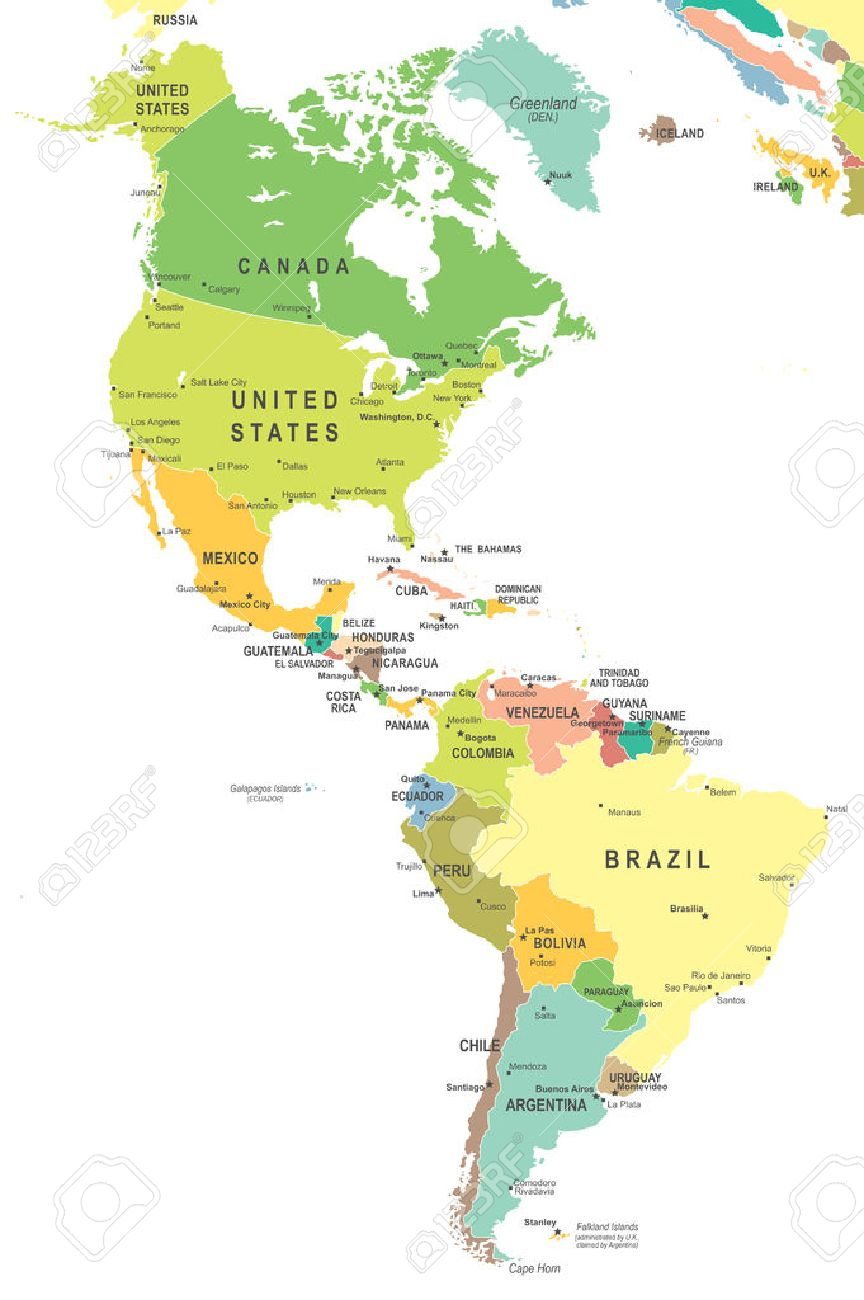 Cape Horn On South America Map.North And South America Map Highly Detailed Vector Illustration