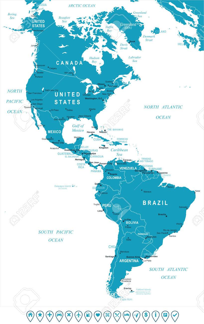 Image of: North And South America Map Highly Detailed Vector Illustration Royalty Free Cliparts Vectors And Stock Illustration Image 48973686
