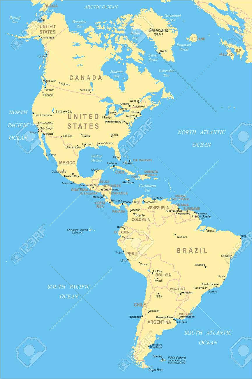 North And South America - Map - Illustration. Royalty Free Cliparts ...