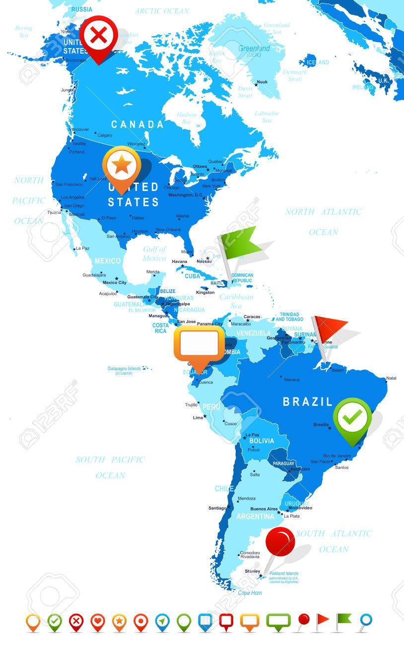 North and South America map - highly detailed vector illustration...