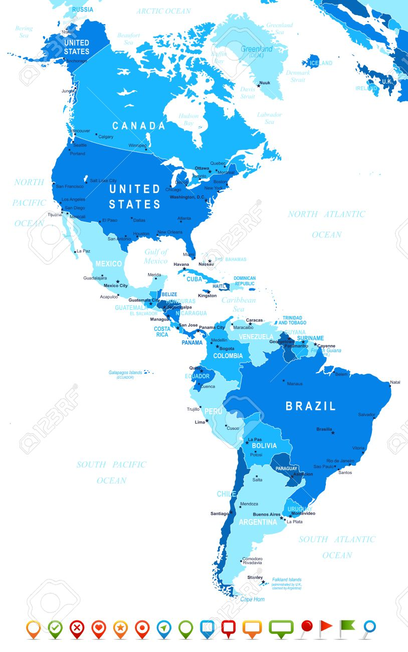 North And South America Map Highly Detailed Vector Illustration - South america cities map
