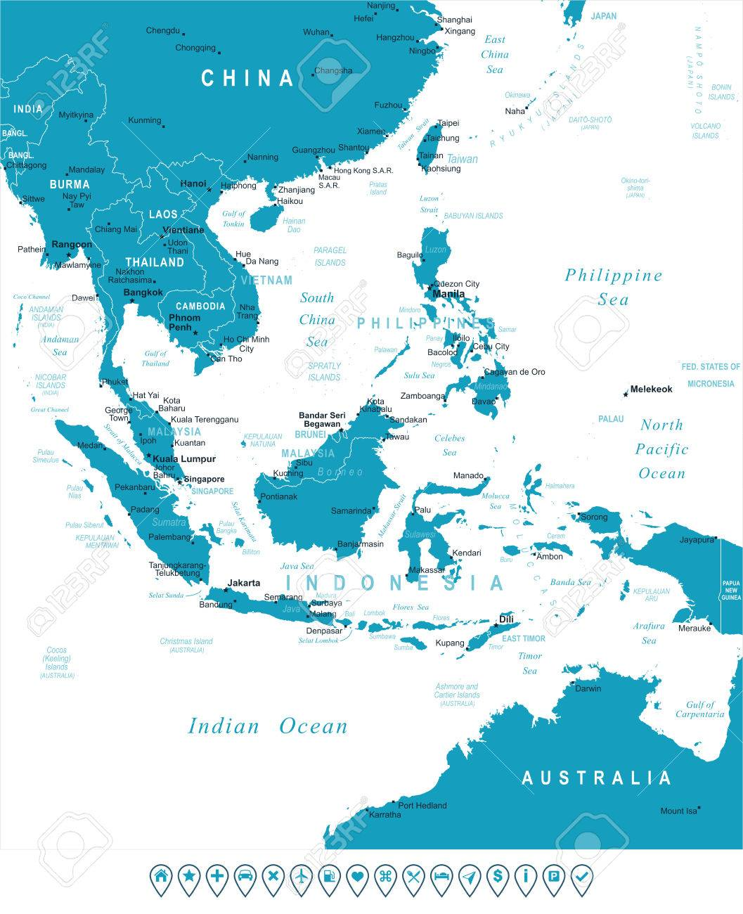 Southeast Asia Map - Highly Detailed Vector Illustration. Image ...