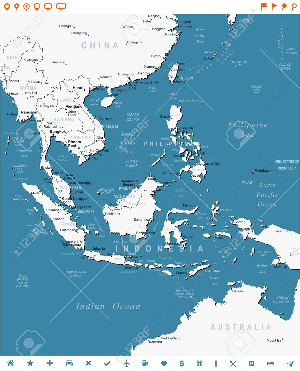 Southeast Asia Map And Navigation Labels Illustration Royalty