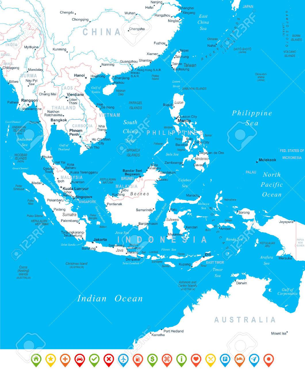 Southeast Asia Map Navigation Icons Illustration Royalty Free