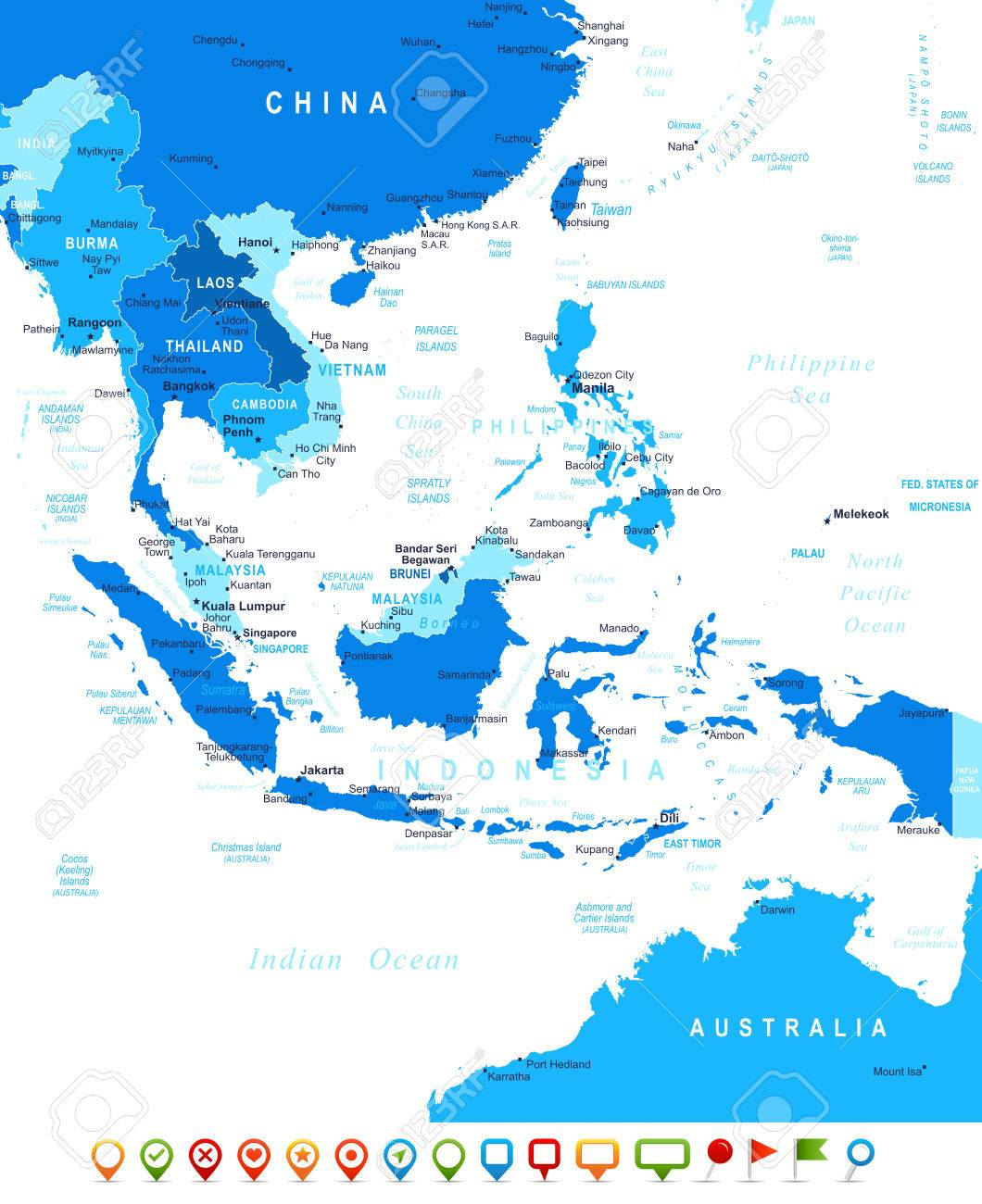 Southeast Asia Map Highly Detailed Vector Illustration Image