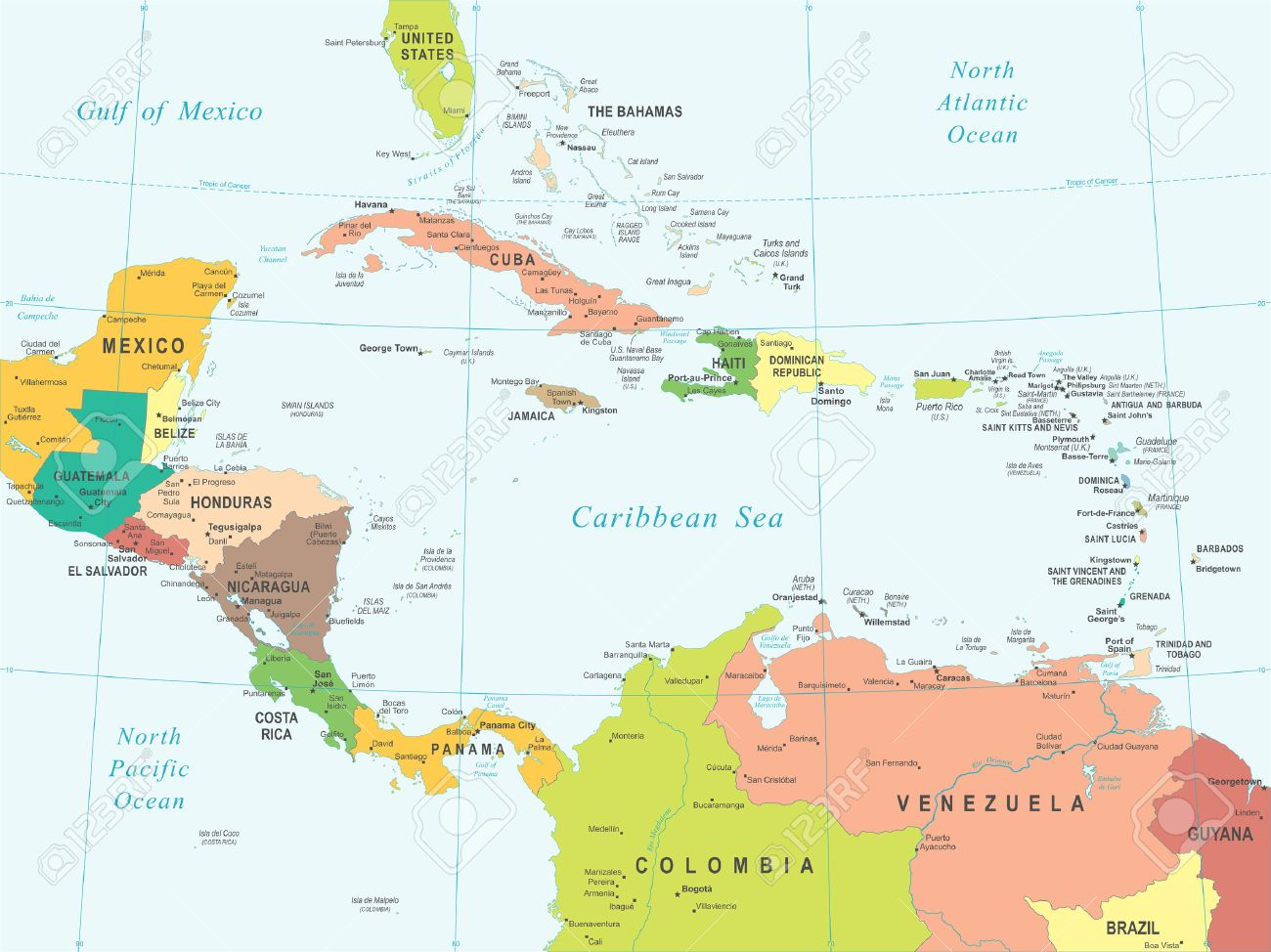 Panama Central America Stock Illustrations Cliparts And - Panama central america map