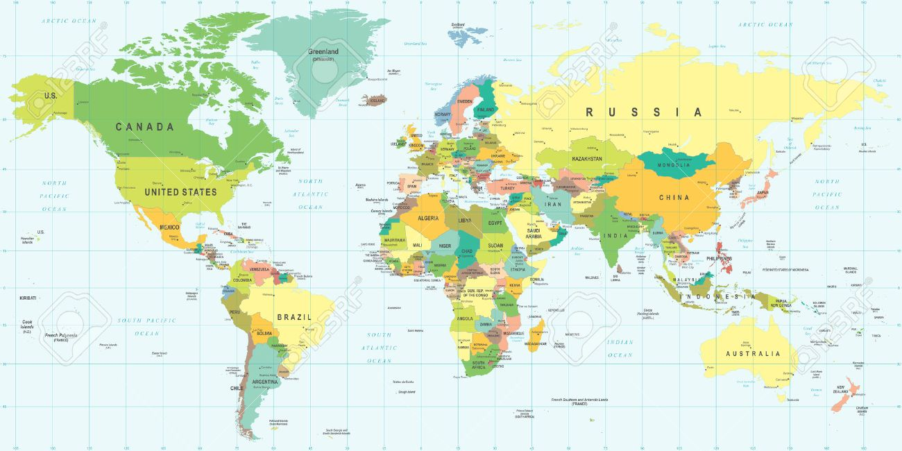 World Map Illustration Colored And Grid Royalty Free Cliparts - World map of us