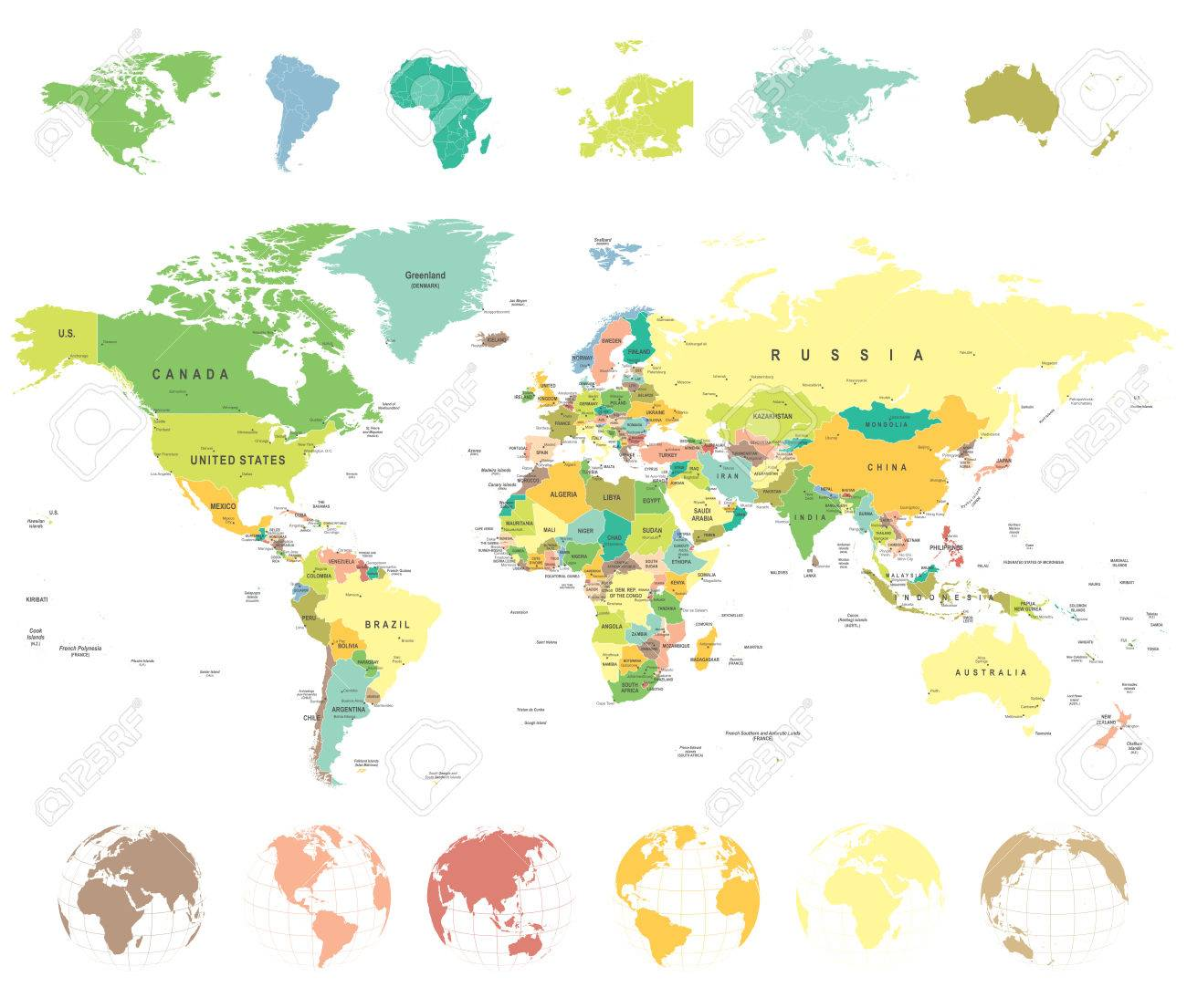 World map and globes highly detailed vector illustration royalty vector world map and globes highly detailed vector illustration gumiabroncs Choice Image