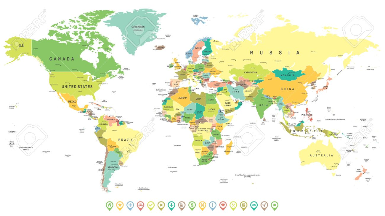 Vector   World Map And Navigation Labels   Highly Detailed Vector  Illustration.
